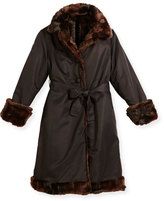 Helena Reversible Belted Microfiber Coat, Black/Brown, Size 7-14