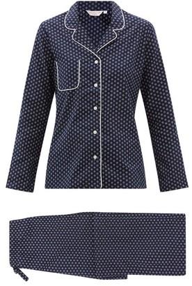 Derek Rose Nelson Floral-print Cotton Pyjamas - Navy