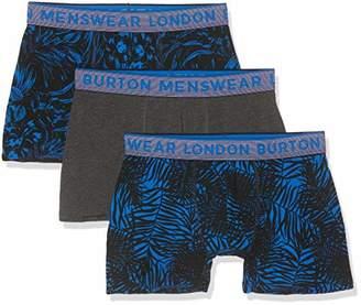 Burton Menswear London Men's 3 Pack Tonal Floral Underwear Trunks,Large (Size:Large)