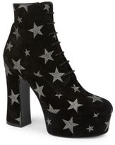 Saint Laurent Candy Suede Star Lace-Up Platform Booties