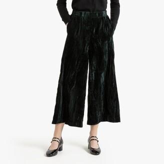"La Redoute Collections Short Velvet Wide Leg Trousers, Length 26"""