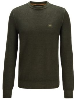 BOSS Micro-structured crew-neck sweater in virgin wool
