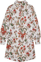 McQ by Alexander McQueen Pintucked Floral-print Chiffon Mini Dress - Ivory