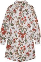 McQ Pintucked Floral-print Chiffon Mini Dress - Ivory