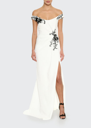 Marchesa Dahlia-Embroidered Crepe Off-the-Shoulder Gown
