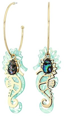 Betsey Johnson Convertible Seahorse Hoop Earrings (Blue) Earring
