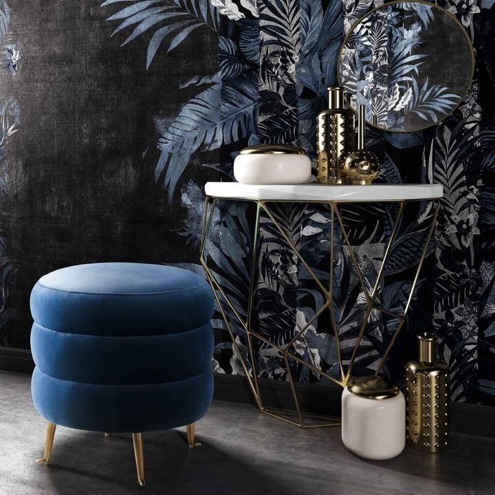 Thumbnail for your product : TOV Furniture Ladder Blue Velvet Ottoman
