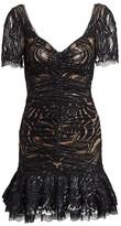 Jonathan Simkhai Metallic Lace Ruffle Hem Dress