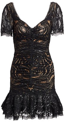 Jonathan Simkhai Metallic Lace Ruffle Hem Dress