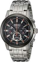 Seiko Men's SSC389 Solar Chrono Analog Display Japanese Quartz Silver Watch