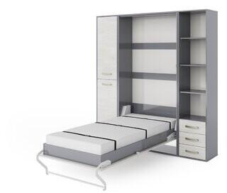 Latitude Run Feingold Vertical Wall Storage Platform Bed with Mattress Latitude Run Color: Gray/White Monaco, Size: Full/Double