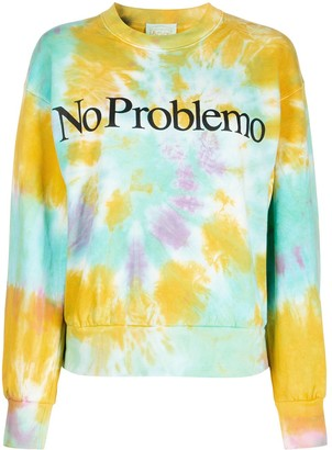 Aries Tie-Dye Slogan Sweatshirt