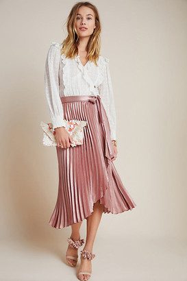Maeve Paulina Pleated Midi Skirt By in Pink Size 00