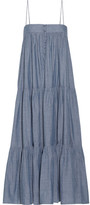 Apiece Apart Tangiers Tiered Cotton-chambray Midi Dress - Blue