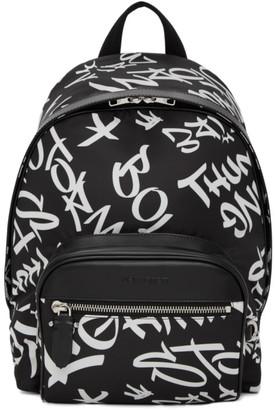 Neil Barrett Black Graffiti Buckle Backpack