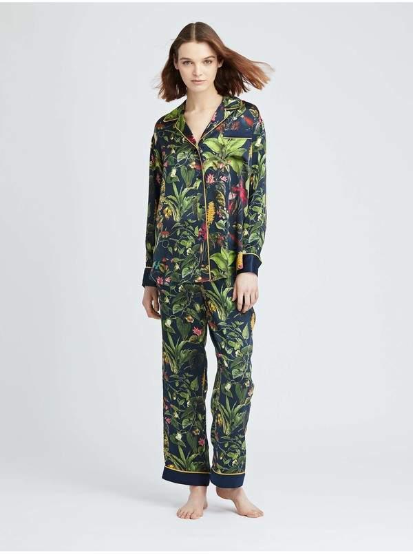 Oscar de la Renta Toucan Jungle Silk-Charmeuse Pajama Pant