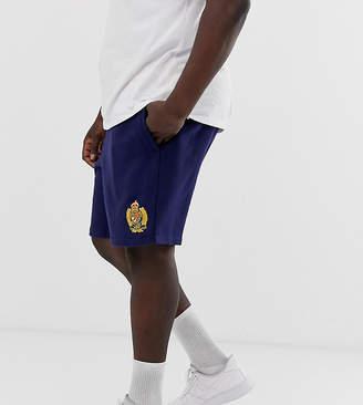 Big & Tall crest logo cut off sweat shorts in navy