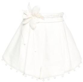 Zimmermann Belted Pleated Floral-appliqued Embellished Linen Shorts