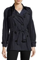 Burberry Middlemere Bell-Sleeve Short Trench Coat, Navy