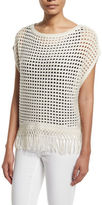 Elie Tahari Pandora Crochet Sweater with Fringe Hem