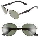 Ray-Ban Men's 55Mm Polarized Sunglasses - Matte Gunmetal/ Green P