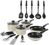 Morphy Richards Equip 5 Piece Pan Set with 9 Piece Tool Set - Cream