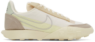 Nike Off-White and Beige Waffle Racer LX Series QS Sneakers