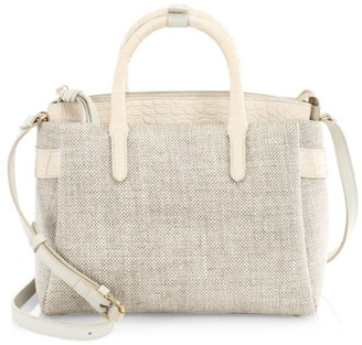 Nancy Gonzalez Small Cristie Crocodile-Trimmed Linen Satchel