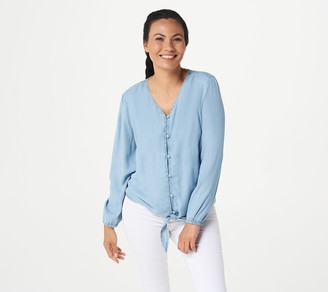 Denim & Co. Lightweight Denim Button-Front Tie Waist Top