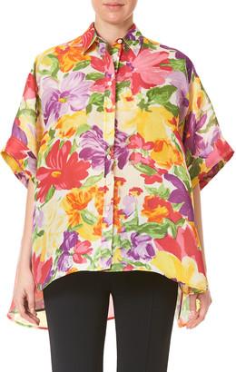 Carolina Herrera Floral-Print Silk Boxy Shirt