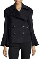 Burberry Townhill Double-Breasted Flare-Sleeve Pea Coat, Navy