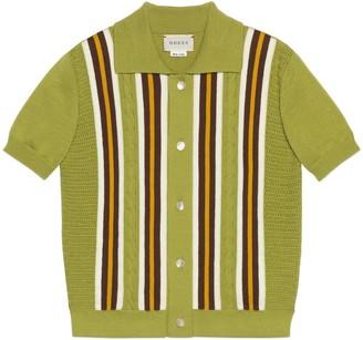 Gucci Children's cable-knit cotton striped shirt