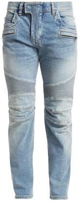 Balmain Tapered Bleach Biker Jeans