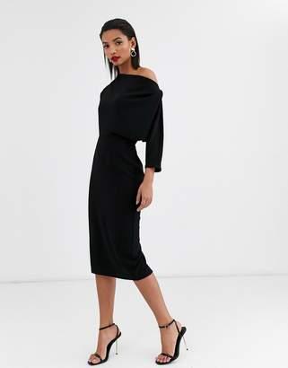 Asos Design DESIGN fallen shoulder midi pencil dress-Black