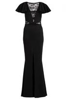 Quiz Black Lace Insert Frill Sleeve Fishtail Maxi Dress