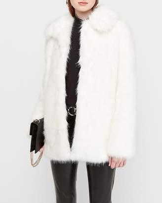 Express Collared Long Faux Fur Coat