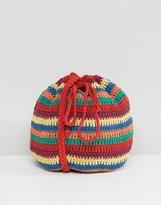 South Beach Drawstring Cotton Crochet Tropical Brights Cross Body Bag