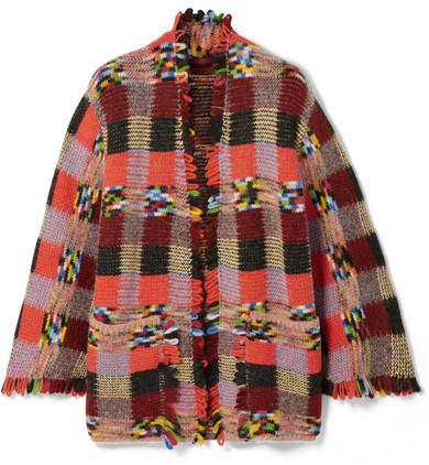 Missoni Fringed Crochet-knit Cardigan - Red