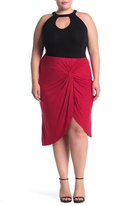 Socialite Twist Front Tulip Hem Knit Midi Skirt