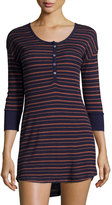 Splendid Three-Quarter Sleeve Striped Pattern Sleepshirt, Navy Strip