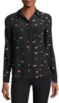 Rails Kate Butterfly-Print Georgette Shirt, Black