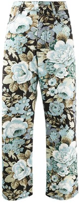 P.A.R.O.S.H. Denim Floral Print Cropped Jeans