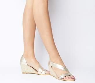 Office Maid Asymmetric Wedges Gold Leather