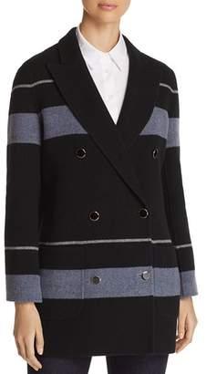Giorgio Armani Striped Double Breasted Wool & Cashmere Peacoat