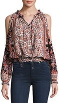 Romeo & Juliet Couture Floral-Print Peasant Cold-Shoulder Blouse, Burgundy