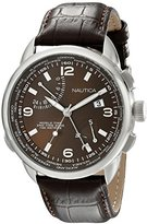 Nautica Men's NAD19509G NWT 01 Stainless Steel World Time Watch With Brown Leather Band