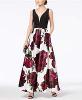 Xscape Evenings Solid & Floral-Print Plunge Gown