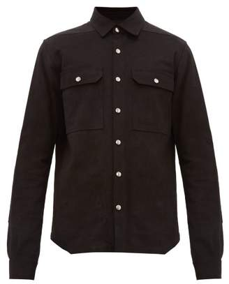 Rick Owens Larry Leather-patch Cotton Overshirt - Mens - Black Brown