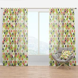 Design Art Designart 'Retro Abstract Drops II' Mid-Century Modern Curtain Panel