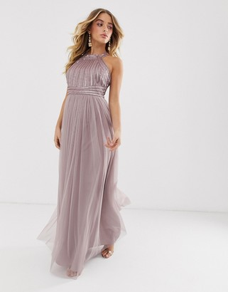 Asos Design DESIGN maxi dress with linear sequin and beaded bodice and tulle skirt-Multi